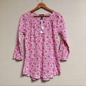 Ralph Lauren Jeans Co. white & pink print boho top